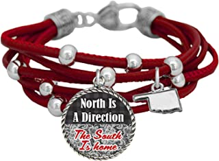 product image for Oklahoma North is a Direction South is Home Red Leather Bracelet Southern Jewelry