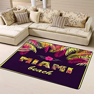 "Sports Area Rug Doormat Party Miami Beach Yellow Pink Palm Leaves Darknon-Slip for Living Dining Dorm Room Bedroom 63""x48""inches"