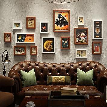 Unbekannt 15 Multi Bilderrahmen Set Industrial Style Vintage Schlafzimmer  Sofa Esszimmer Wand Kreative Zusammensetzung Foto Frame