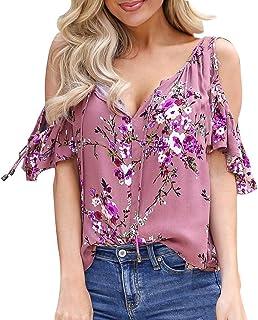 JQjian Womens Fashion Off Shoulder Floral Print Ruffle T-Shirt, Short Sleeve Casual Top Blouse