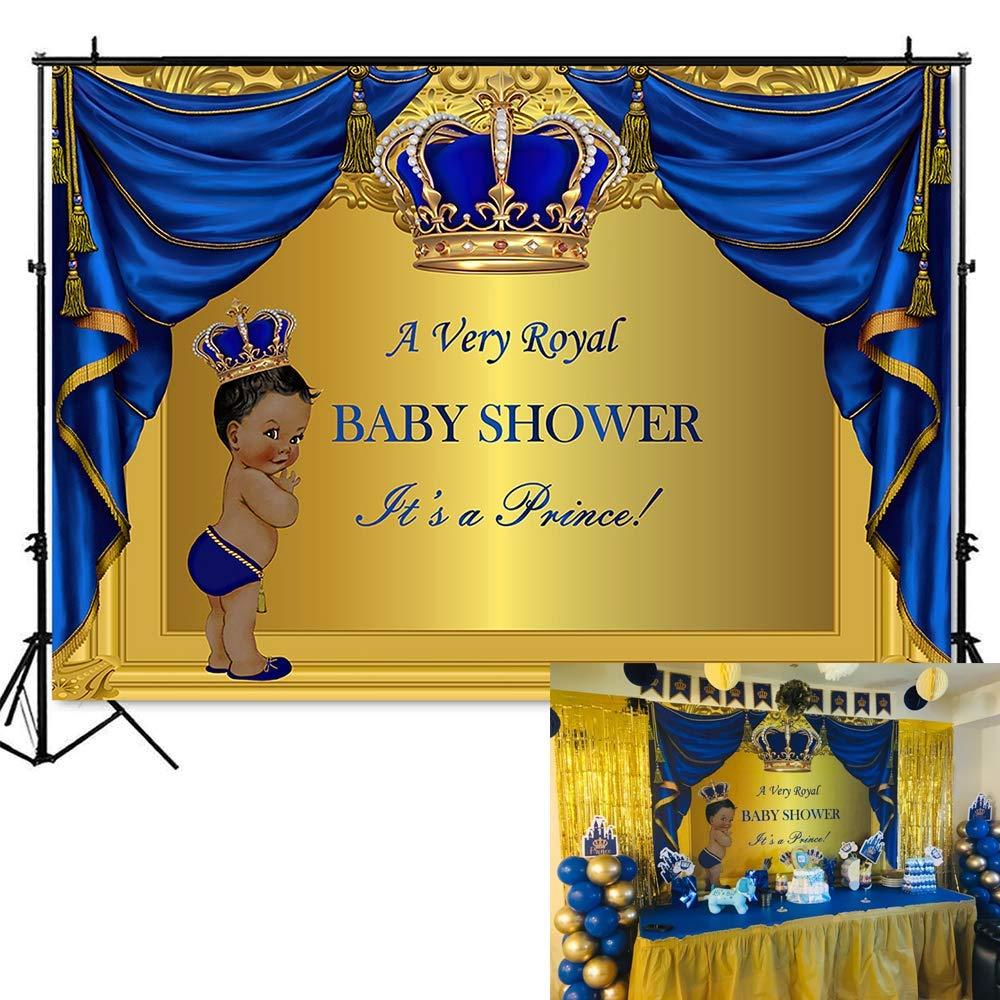 Mehofoto Royal Blue Prince Baby Shower Backdrop Royal Prince Baby Shower Photography Background 7x5ft Vinyl Blue Gold Prince Baby Shower Party Banner