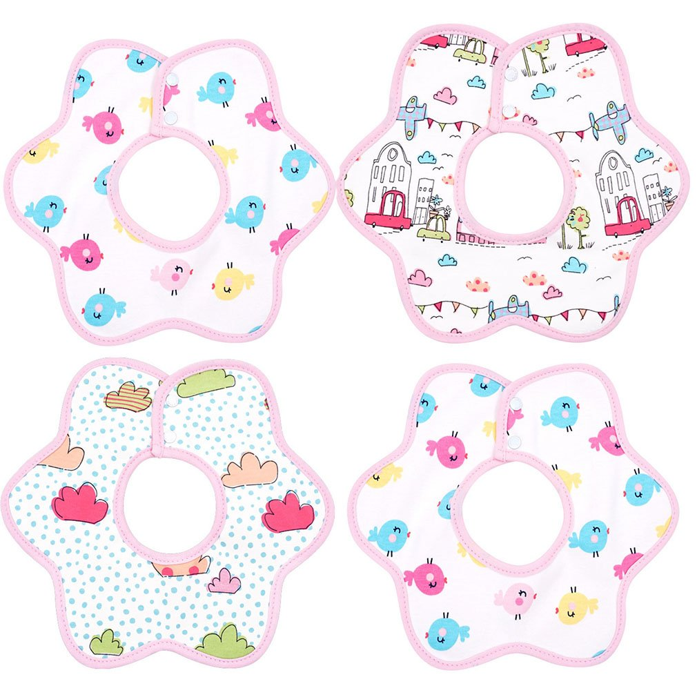 Kissababy 4 Pcs Baby Bibs, 360 Rotational Absorbent Cotton, Baby Gift for Boys Girls HK225