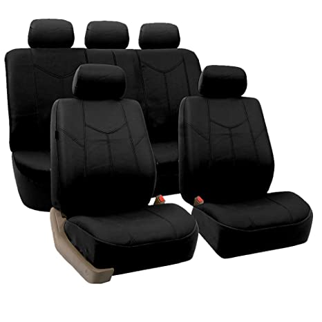 Swell Fh Group Pu009Black115 Black Rome Pu Leather Car Seat Cover Split Bench And Airbag Ready Full Set Caraccident5 Cool Chair Designs And Ideas Caraccident5Info
