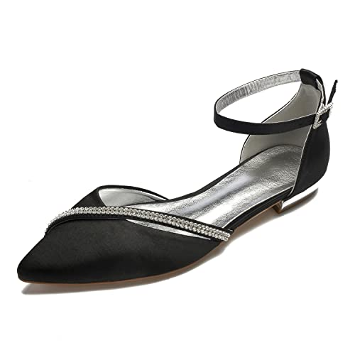 474959a3b0a MarHermoso Women's Satin Ankle Strap Pointed Toe Rhinestones Comfort Flats  Wedding Bridal Shoes