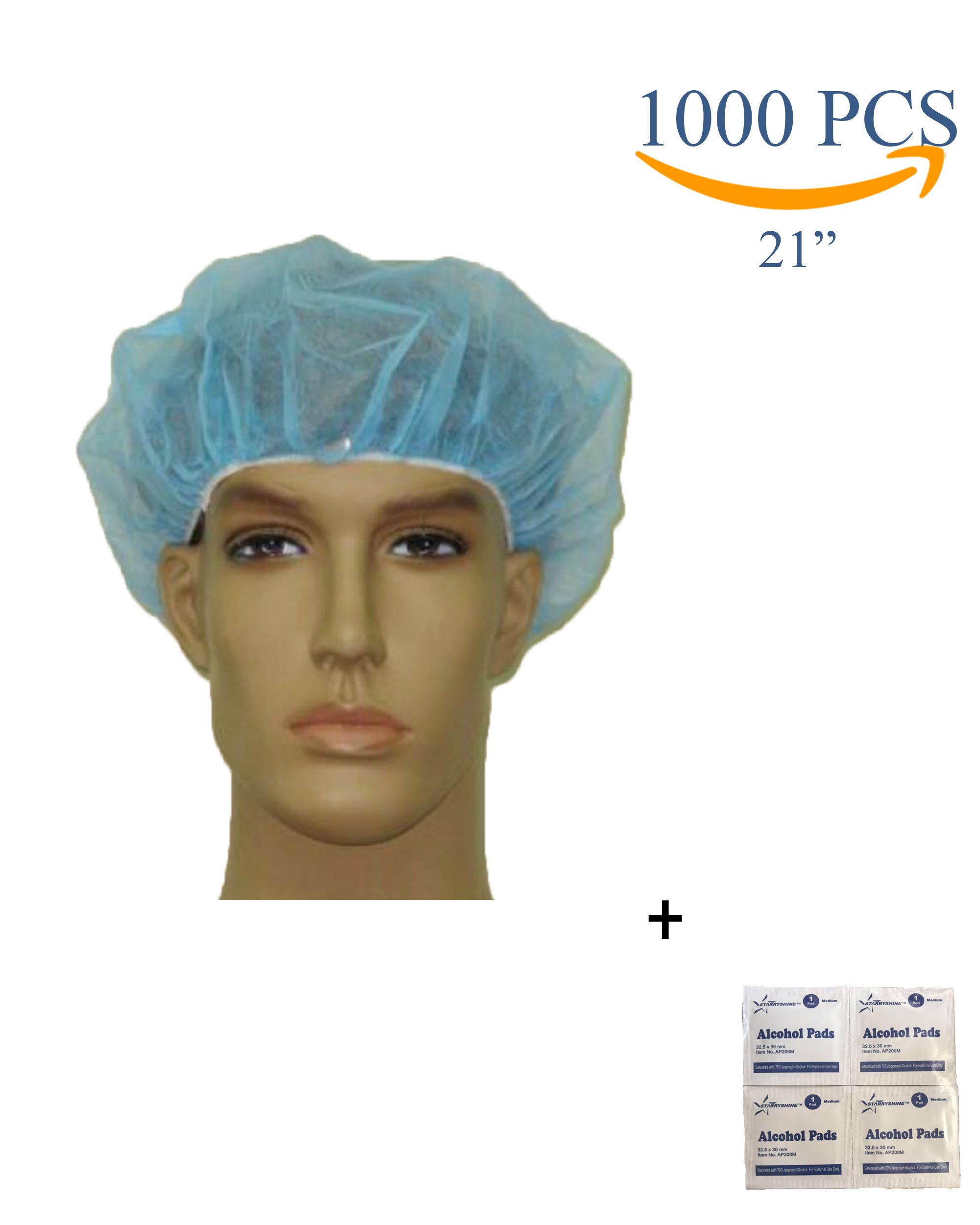 Disposable Bouffant (Hair Net) Caps, Spun-Bounded Poly, Hair Head Cover Net, Non-Woven, Medical, Labs, Nurse, Tattoo, Food Service, Health, Hospital -Bonus Starryshine A/P (21'', BLUE (1000 PCS))