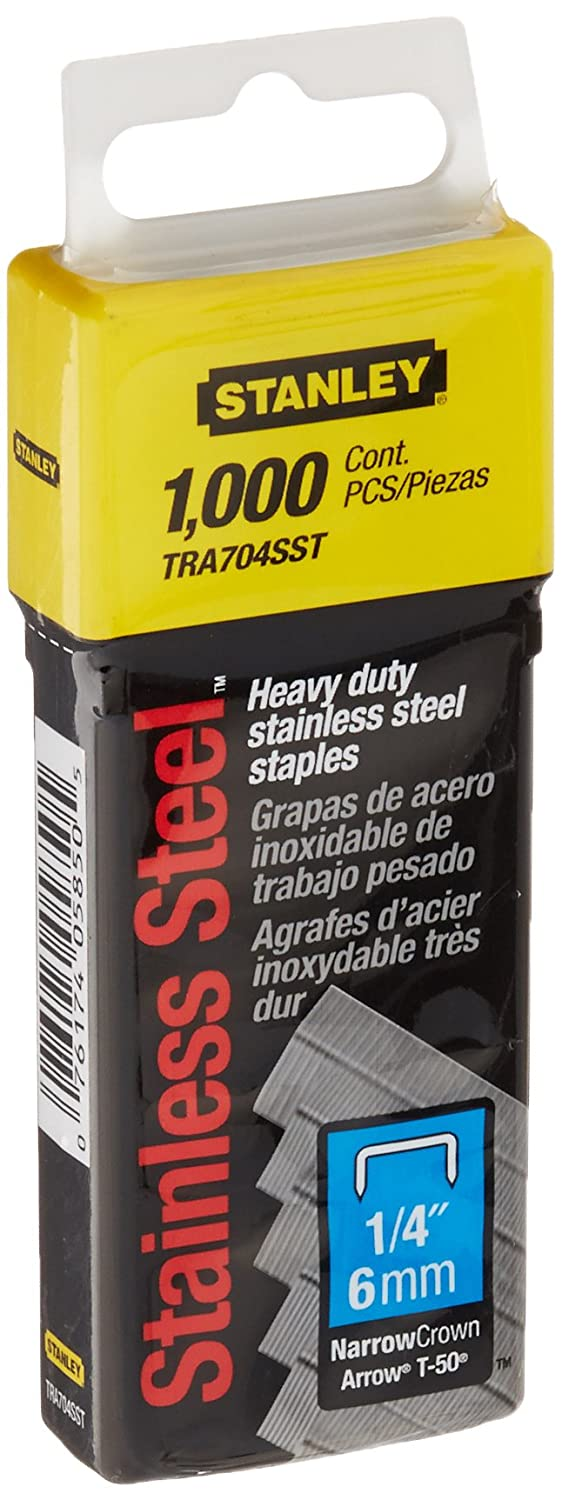 Stanley TRA704SST 1/4-Inch Heavy Duty Stainless Steel Narrow Crown Staples, 1,000-Count
