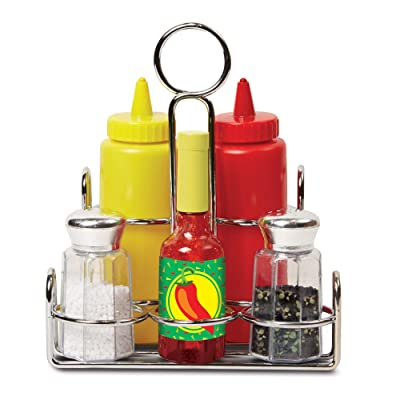 Melissa & Doug Let's Play House! Condiment Set (Pretend Play, Sturdy Metal Caddy, Realistic Sound Effects, 6 Pieces, Great Gift for Girls and Boys - Best for 3, 4, and 5 Year Olds): Toy: Toys & Games
