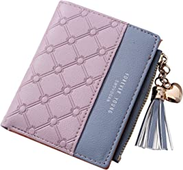 Women Small Wallet, OURBAG Mini Soft Leather Bifold Wallet Cluth Ladies Card Sleeve Coin Purse