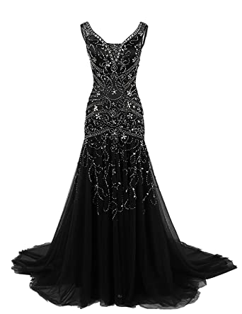 BessDress Elegant Mermaid Prom Dresses V Neck Long Beaded Evening Dress BD018