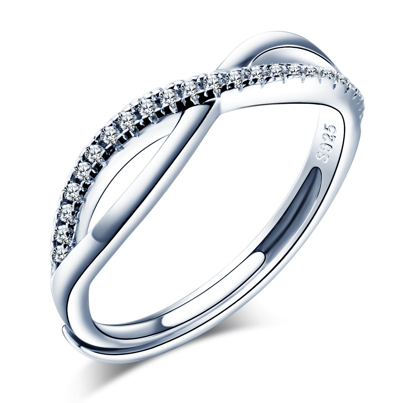 Infinite U Double Line Wave 925 Sterling Silver Cubic Zirconia Infinity Promise Ring for Women//Girls Adjustable Size 5.5-7.5