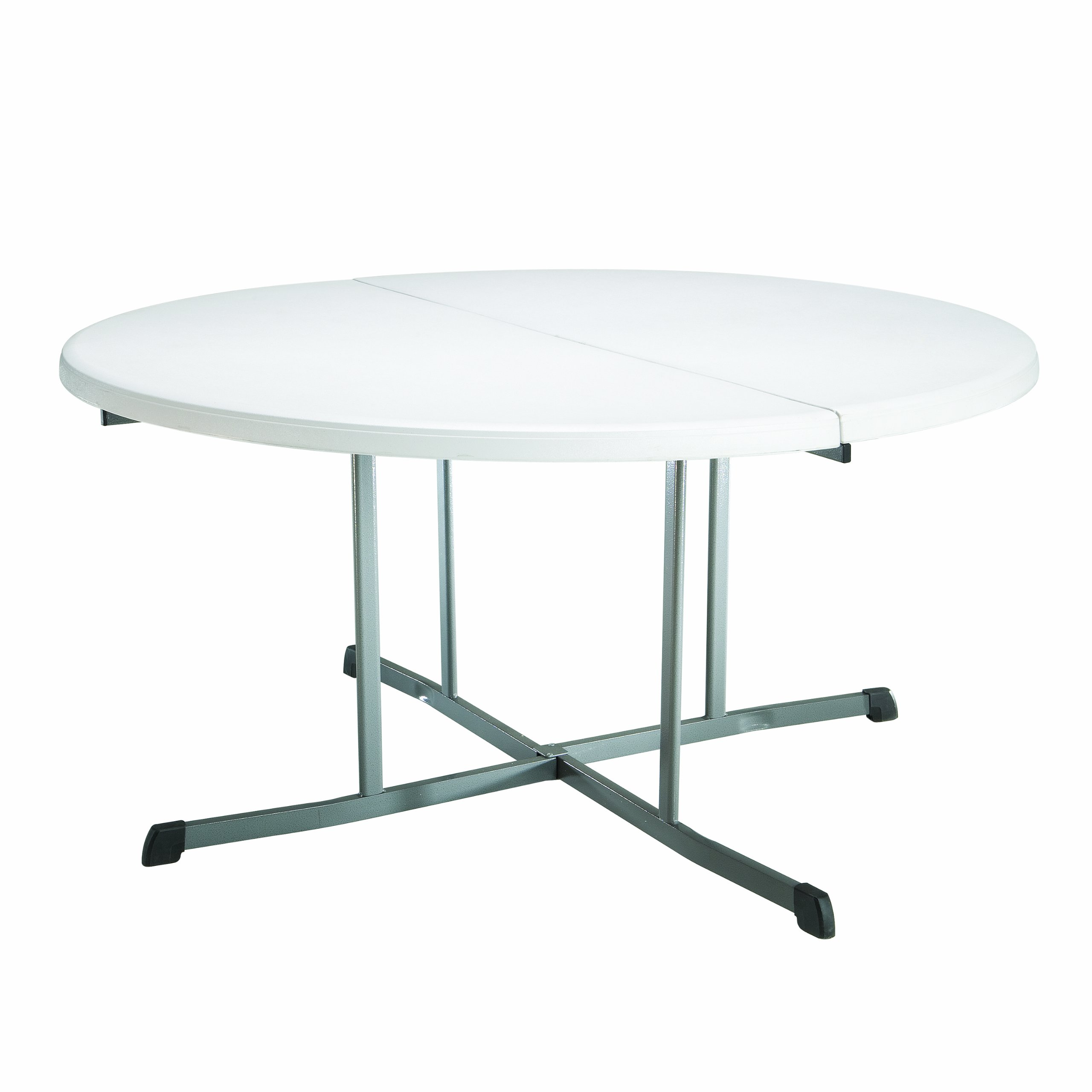 Lifetime 25402 Commercial Round Fold In Half Table, 5 Feet , White Granite by Lifetime