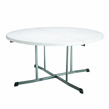 Superior Lifetime 25402 Commercial Round Fold In Half Table, 5 Feet , White Granite
