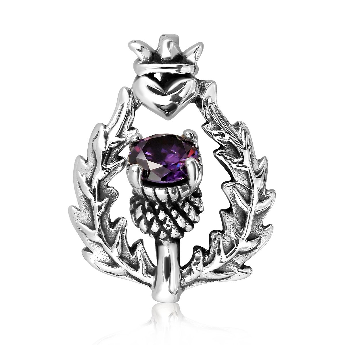 WithLoveSilver 925 Sterling Silver Scottish Style Thistle Heart Round Simulated Purple Cubic Zirconia Pendant 22565AMZPPJ