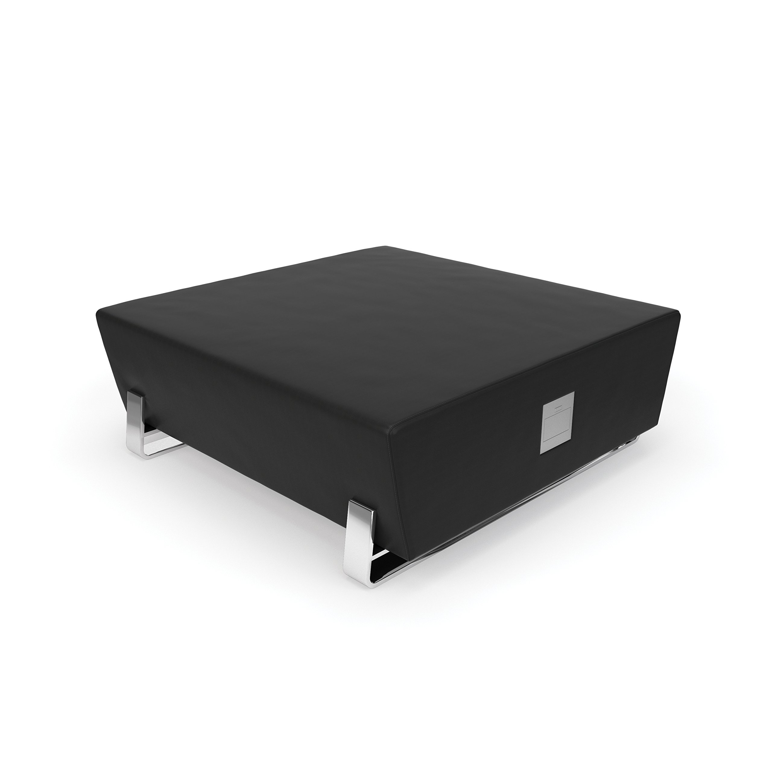 OFM Axis Series Model 4004C Contemporary Square Bench with USB Port, Textured Vinyl with Chrome Base, Midnight
