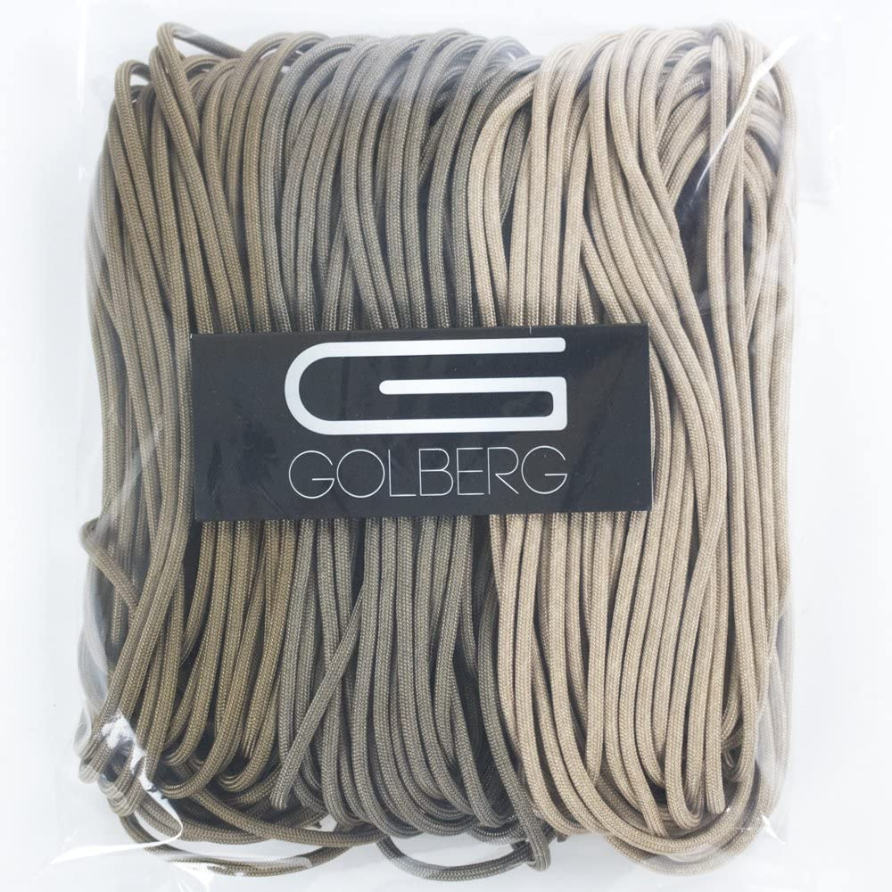 GOLBERG 750lb Paracord/Parachute Cord – US Military Grade – Authentic Mil-Spec Type IV 750 lb Tensile Strength Strong Paracord – Mil-C-5040-H – 100% Nylon – Made in USA (Tri-Pack Brushwood, 150 ft)
