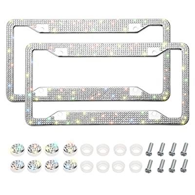 Otostar Bling Bling Car License Plate Frame, Handmade 8 Facets Rhinestones Stainless Steel License Plate Holder Cover with Screws Caps - 2 Pack (Silver 6 Rows 4 Holes): Automotive [5Bkhe0407596]