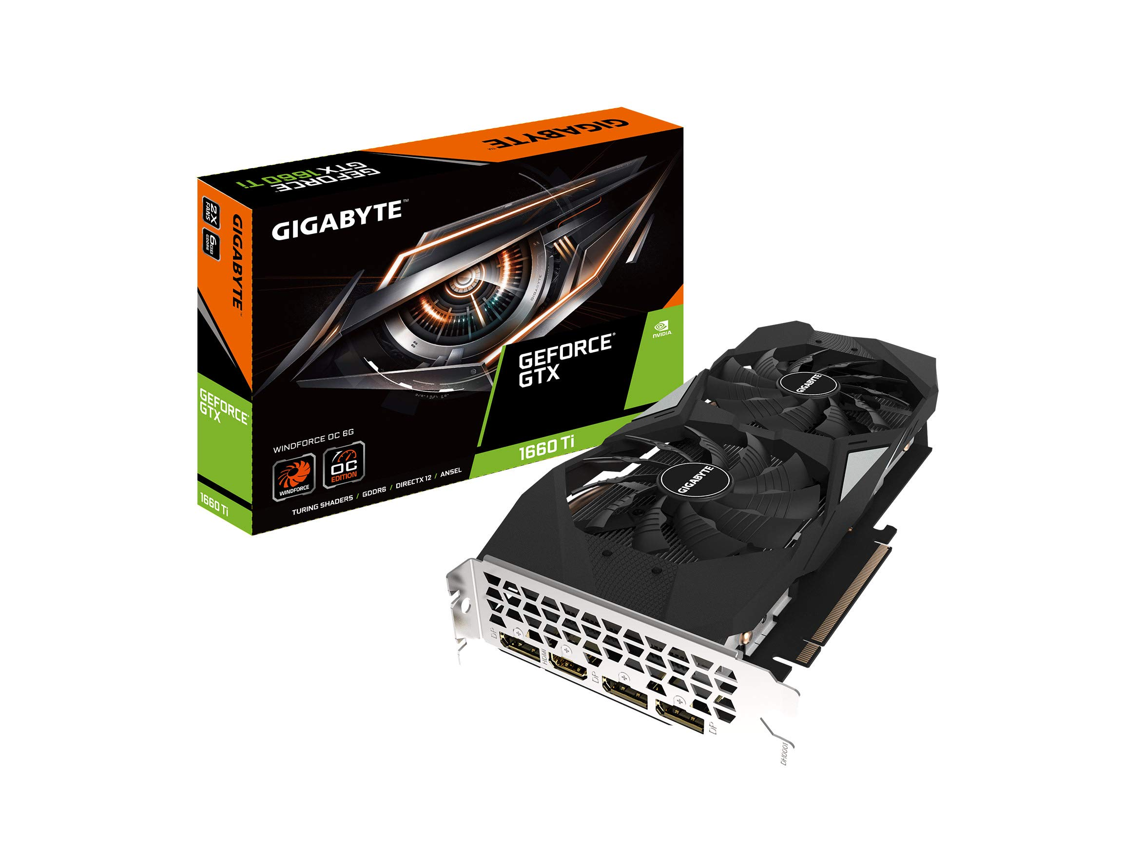GIGABYTE GeForce GTX 1660 Ti Windforce OC 6G 192-bit GDDR6 DisplayPort 1.4 HDMI 2.0B with Windforce 2X Cooling System Graphic Cards- Gv-N166TWF2OC-6GD by Gigabyte
