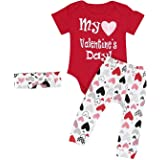 Webla Infant Baby Boy Girl Letter My 1st Valentine's Day Romper+Heart Pants+Headband 3Pcs Outfits Set for 0-24 Month Baby