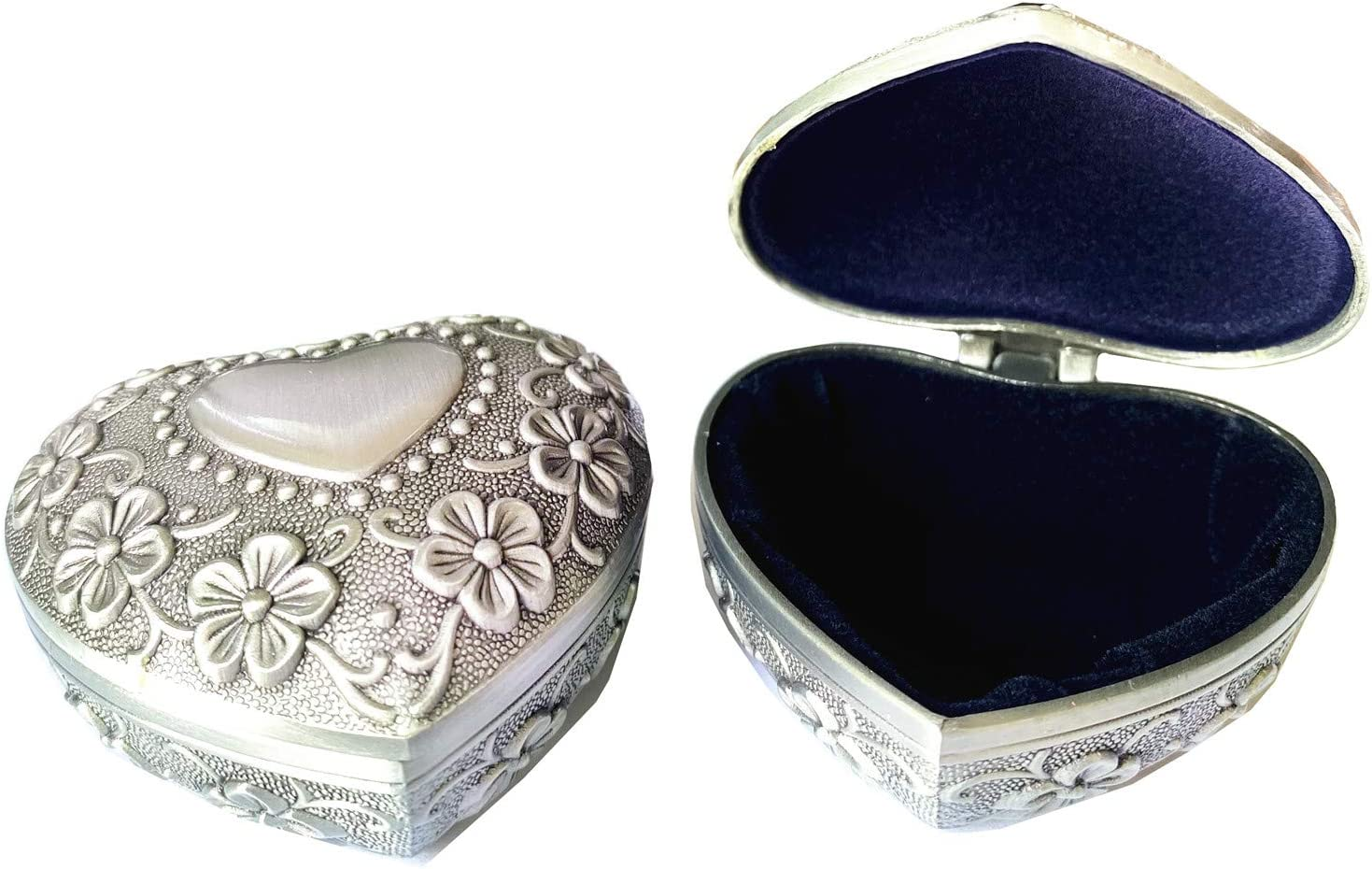 TANG SONG 2 Packs Small Metal Heart Shape Jewelry Box Classic Vintage Antique Ring Box Trinket Storage Organizer Chest (Silver)
