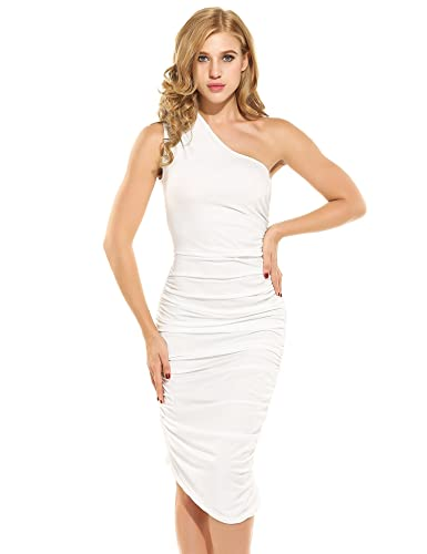 Meaneor Women's Sexy One Shoulder Sleeveless Ruched Side Dress