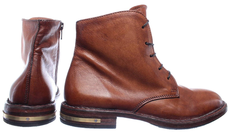 MOMA Damen Schuhe Stiefeletten 83705 R1 Pelle Leder Braun Vintage Made In Italy