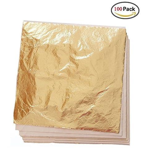 Kinxor 100 fogli imitazione doratura foglia oro, fai da te, colore ...