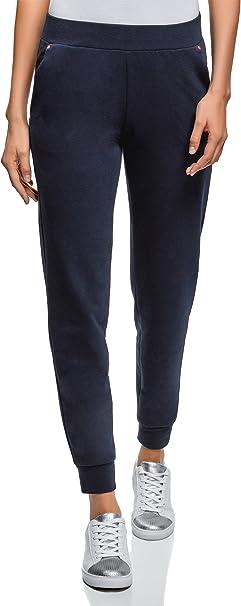 oodji Ultra Mujer Pantalones de Punto con Cintura Elástica, Azul, ES ...