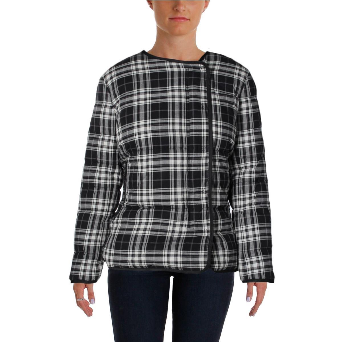 Pure DKNY Womens Reversible Plaid Coat Black S