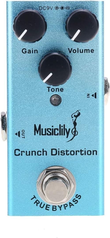 Musiclily Basic Mini Pedal de Efectos de Guitarra Eléctrica DC 9V Adaptador Powered True Bypass, Crunch Distortion