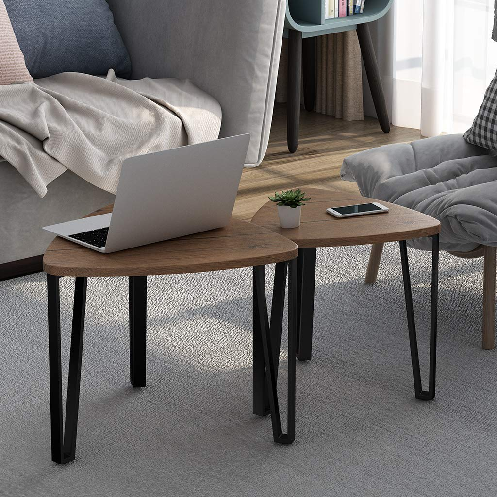 LANGRIA Nesting Coffee Table Set of 2 End Side Tables with Stackable Layers and Metal Frame Nightstand MDF Wood-Like Furniture for Holding Snacks Drinks Magazines in Home Office by LANGRIA