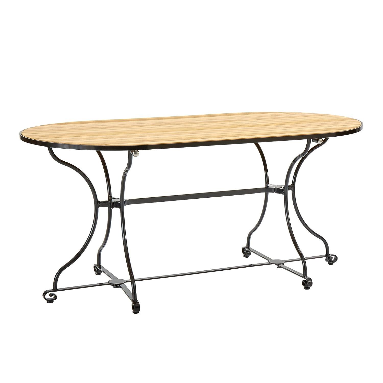 GARPA Fontenay Tisch oval 160 x 85 mit Teakleisten klappbar