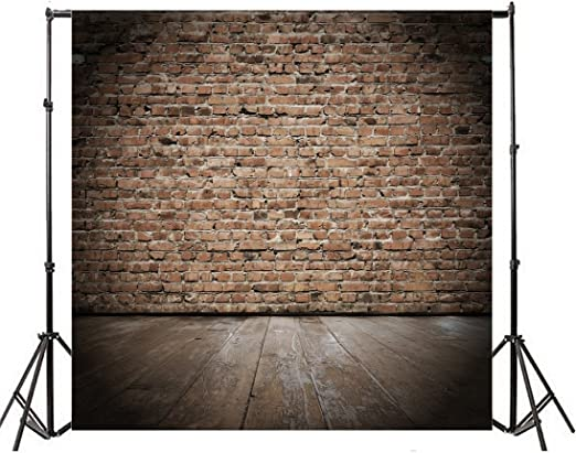 Leowefowa 10X10FT Weathered Brick Wall Backdrop Grunge Red Brick Backdrops for Photography Rustic Grunge Stripes Wood Floor Vinyl Photo Background Kids Adults Portraits Studio Props