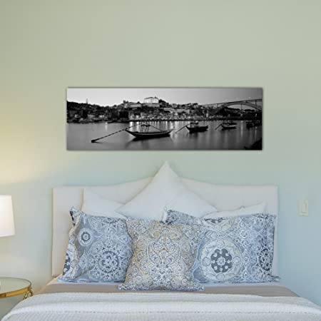 iCanvasART 3 Piece Boats in a Riverdouro River 16 x 48 x 1.5-Inch Portugal Black and White Canvas Print by Panoramic Images Porto