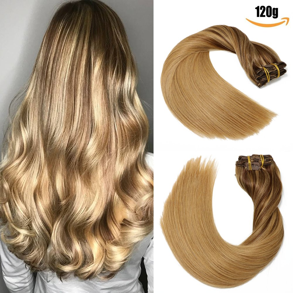 SeaShine Clip in Hair Extensions Double Weft 100% Remy Human Hair Silky Straight Grade 7A Full Head Weft Remy Hair for Women(15 Inch #4 Medium Brown 7pcs 16clips 70g)