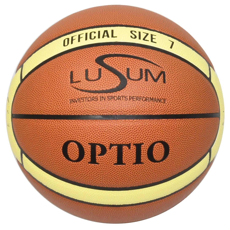 Lusum Optio Piel sint/ética, Tallas 5, 6 y 7 Bal/ón de Baloncesto para Interiores y Exteriores