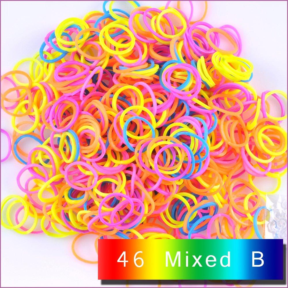 Kirinstores 13 Red Orange 1800 PCS 72 Clips Bands Refills for Loom Rainbow Bracelet Dress Making TM