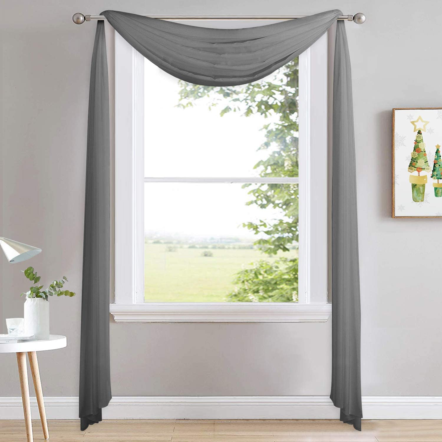 NICETOWN Bed Canopy Scarf Curtain Sheer Textured - Multifunctional Window Topper Scarf Home Decor Voile Valance for Party/Carnival (Sold Individually, W60 x L216, Dark Gray)