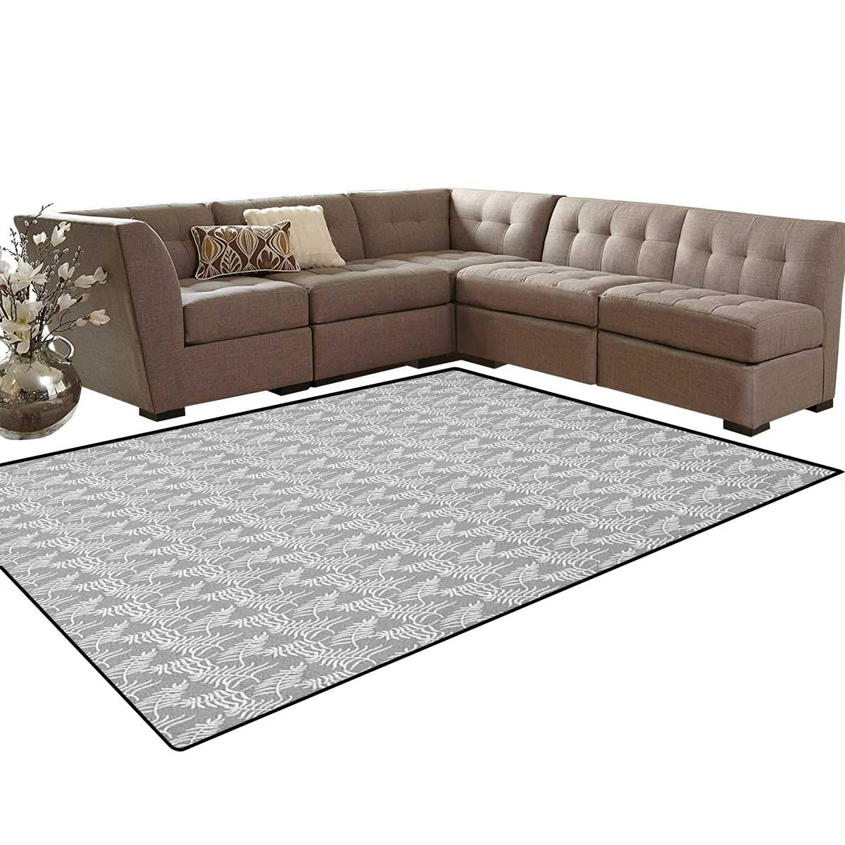 Amazon.com: Leaves, Carpet, Foliage Silhouette with Greyscale Background Exotic Jungle Flora Composition, Non Slip Rug, Pale Grey White Size:5'x6': Kitchen ...