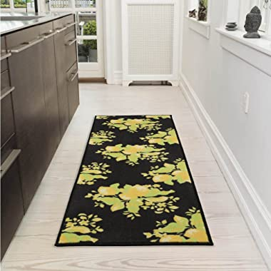 Ottomanson Lemon Collection Contemporary Black Lemons Design Runner Rug with (Non-Slip) Kitchen and Bathroom Mat, Black, 20  x 59