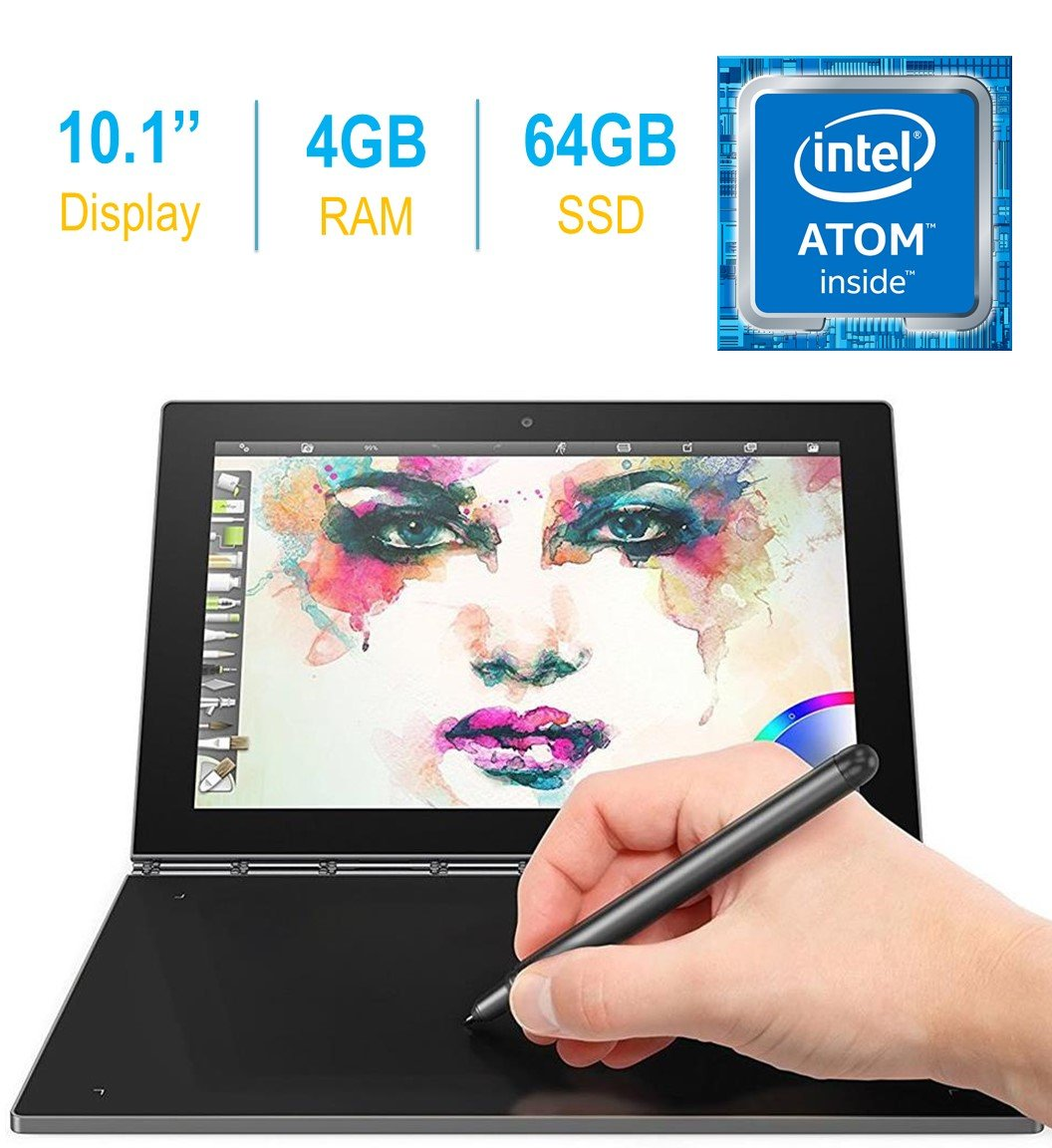 2017 Newest Lenovo Yoga Book 10.1-inch FHD Touch IPS 2-in-1 Tablet PC, Intel Atom x5-Z8550 1.44GHz, 4GB DDR3 RAM, 64GB SSD, Bluetooth, HD Graphics 400