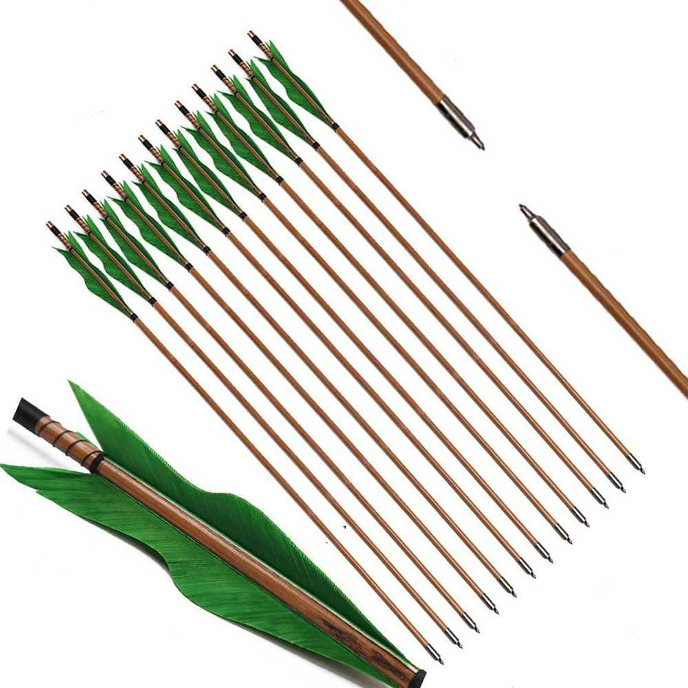 PG1ARCHERY Archery Bamboo Arrows, 32 inch Traditional Hunting Practice Target Arrow 5'' Turkey Feathers Fletching Recurve Bow Longbow Green (Pack of 12)