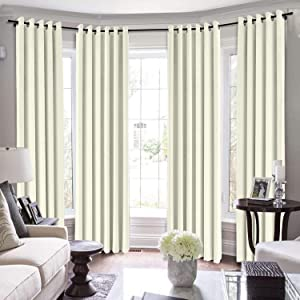 TWOPAGES Extra Long Curtains, 120 Inch Long Velvet for Loft Thermal Insulated Curtains for Living Room/Bedroom Blackout Window Drape (MJ11-56 Beige 1 Panel 50Wx120L)