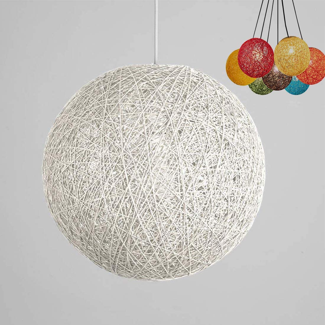 Modern Lattice Wicker Rattan Globe Ball Style Ceiling Pendant Light Lampshade Creative Personality bar, Coffee Shop, Bedroom, Restaurant Home Simple Decoration Lighting White, 30cm