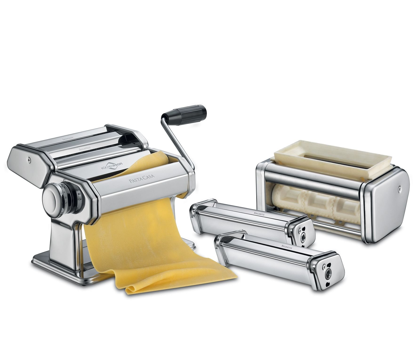 Küchenprofi PASTACASA - Classic Pasta Machine Set - With 3 Aluminium Rollers & Adjustable Thickness