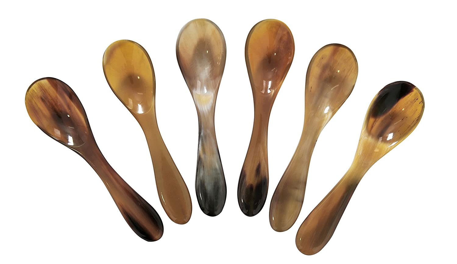 Marycrafts Set of 6 Buffalo Horn Caviar Spoons with Round Handle