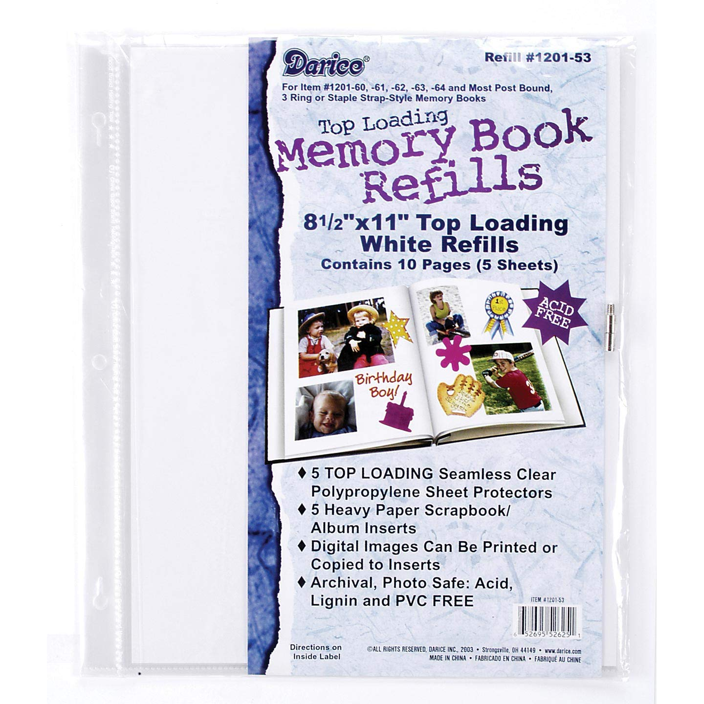 Bulk Buy: Darice DIY Crafts Memory Book Refill Pages 8.5 x 11 inches 5 pieces (10-Pack) 1201-53