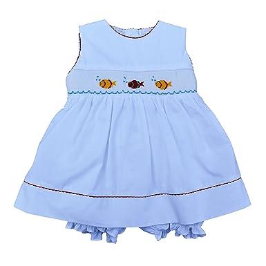 a97fecd8704 Amazon.com  Baby Girl White Sleeveless Dress - Hand Smocked Colorful ...
