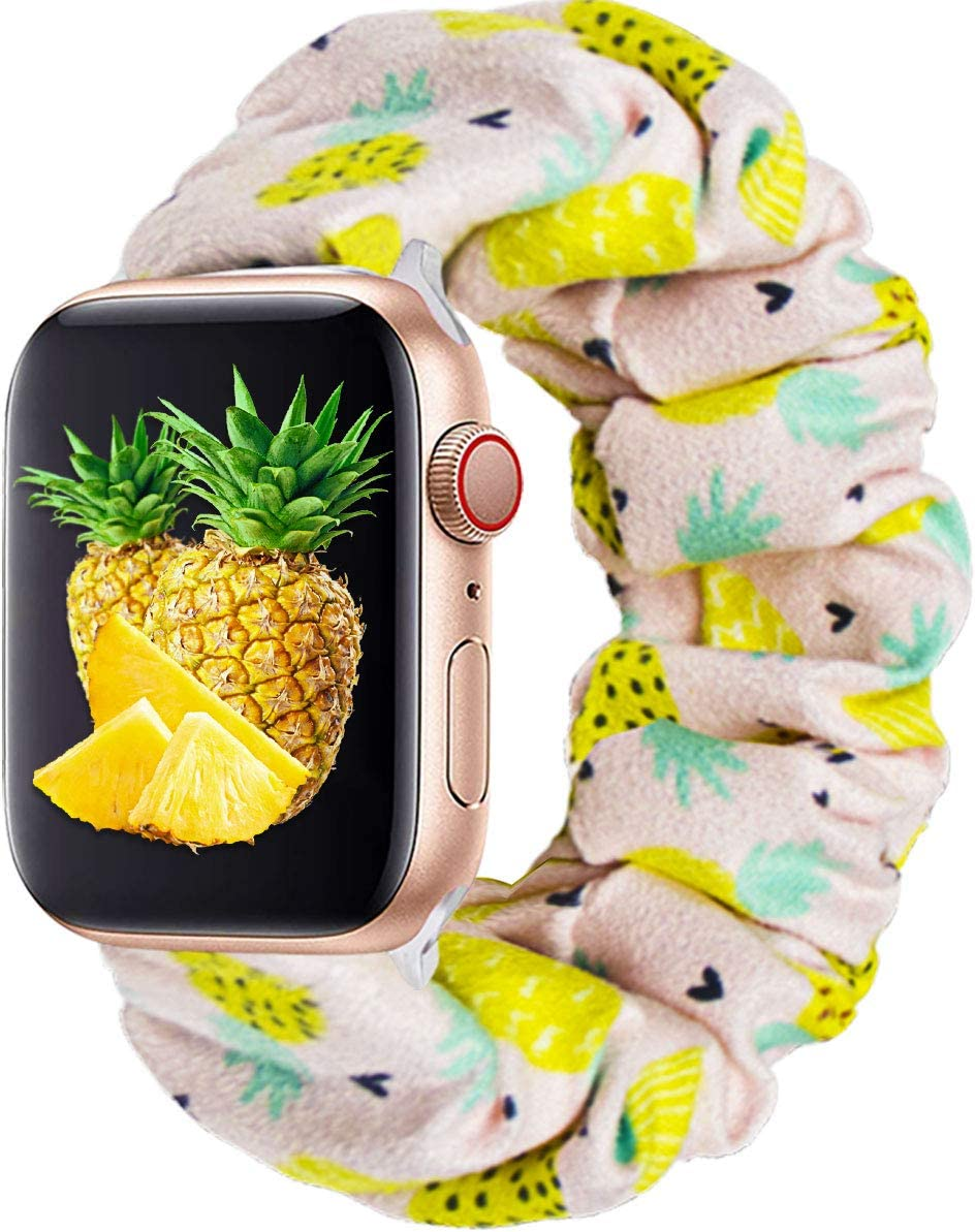 KraftyChix Cute Scrunchie Elastic Watch Band Compatible for Apple Watch, Soft and Fashion Elastic Strap Compatible with Iwatch 38mm 40mm / 42mm 44mm Series 1-4 (Pineapple, 38mm/40mm)