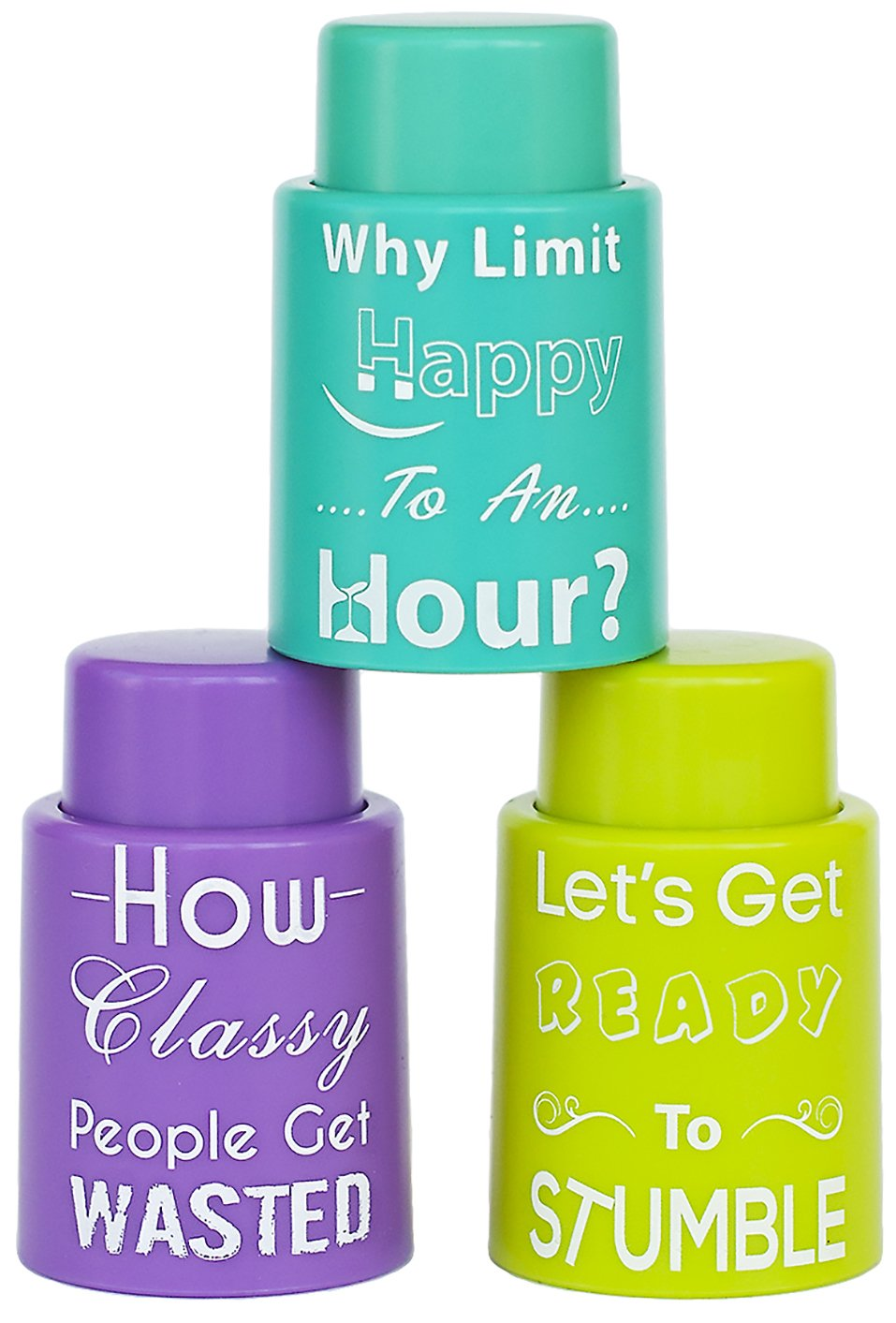 Paragon Storm Set of 3 Vacuum Seal Wine Stoppers: Professional Quality, Great Novelty Gift, Fun Phrases With Unique Colors