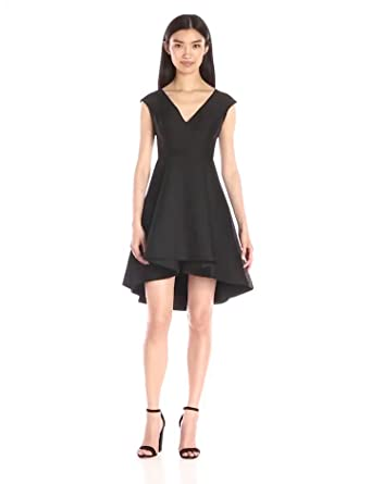 68b0446e694 Halston Heritage Women s Cap Sleeve V-Neck Structured Dress with High Low  Skirt